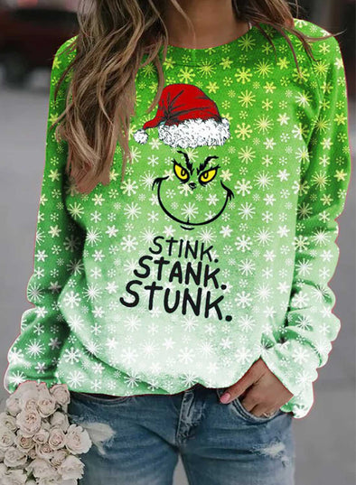 Green Women's Sweatshirts Letter Cartoon Print Gradient Christmas Long Sleeve Round Neck Sweatshirt LC2514711-9