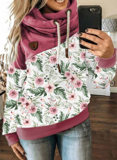 Pink Women's Hoodies Floral Drawstring Long Sleeve Hoodies LC2535716-10