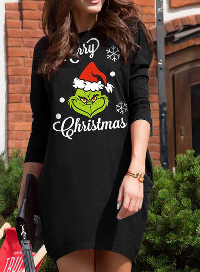Black Women's Dress Christmas Round Neck Long Sleeve Dress LC223958-2