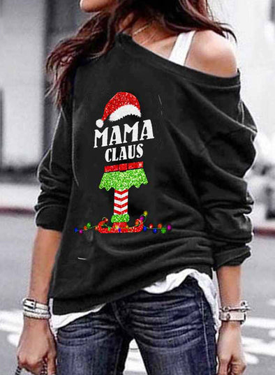 Black Women's Sweatshirts Letter Print Christmas Long Sleeve One shoulder Sweatshirt LC2535747-2