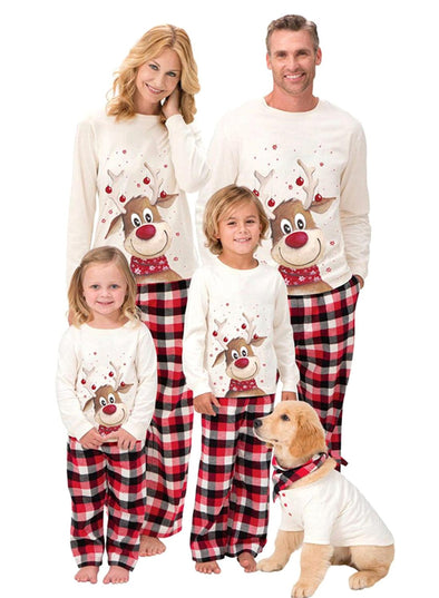 White Parent-child's Loungewear Set Christmas Christmas Plaid Animal Print Loungewear Set LC451660-1
