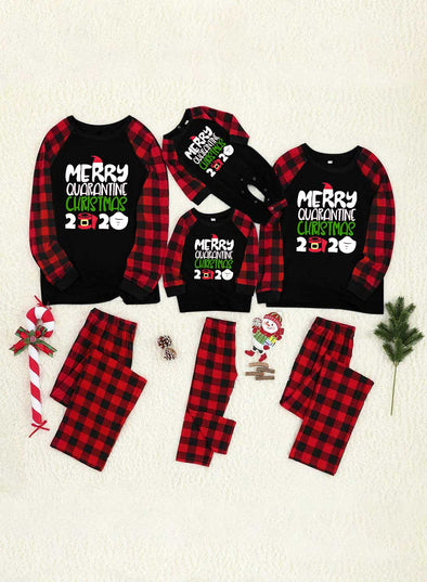 Red Parent-child's Loungewear Set Christmas Christmas Plaid Print Loungewear Set LC451676-3
