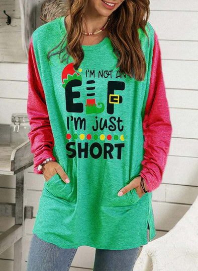 Green Women's Sweatshirts Letter Print Color-block Christmas Long Sleeve Round Neck Sweatshirt LC2514815-9