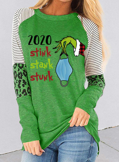 Green Women's Sweatshirts Cartoon Letter Print Christmas Color-block Striped Leopard Long Sleeve Round Neck Sweatshirt LC2514817-9