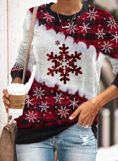 Red Women's Sweatshirts Snow-floral Print Christmas Color-block Long Sleeve Round Neck Sweatshirt LC2514820-3
