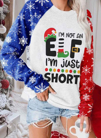 Multicolor Women's Sweatshirts Christmas Letter Print Color-block Long Sleeve Round Neck Sweatshirt LC2535761-22