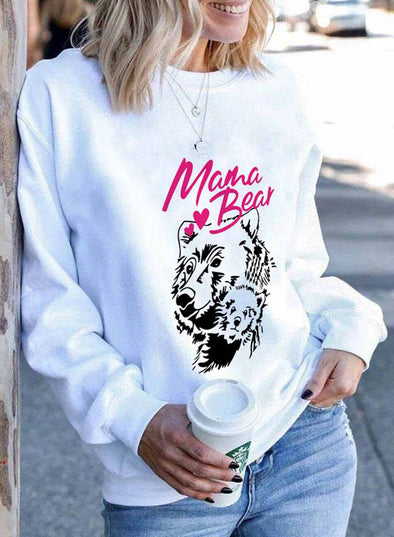 White Women's Sweatshirts Animal Letter Print Long Sleeve Round Neck Sweatshirt LC2535777-1