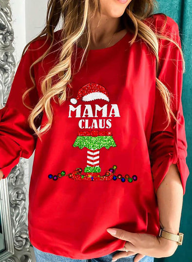 Red Women's Sweatshirts Letter Print Sequin Christmas Long Sleeve Round Neck Sweatshirt LC2535778-3