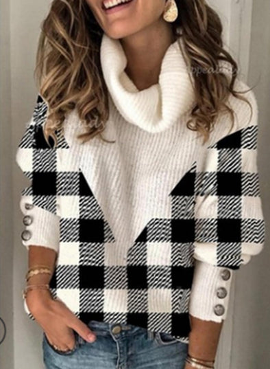 White Women's Sweaters High Neck Long Sleeve Plaid Sweaters LC2721028-1