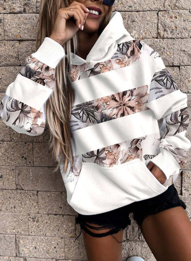 White Women's Hoodies Floral Long Sleeve Striped Hoodies With Pockets LC2535780-1