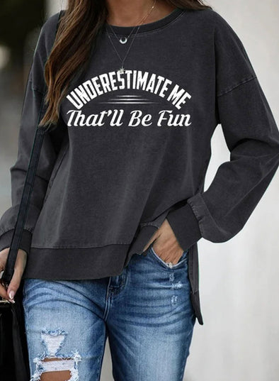 Black Women's Sweatshirts Letter Letter Print Long Sleeve Round Neck Sweatshirt LC2535856-2