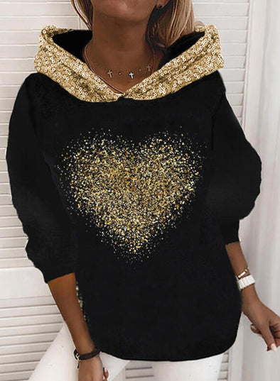 Black Women's Hoodies Sequins Color-block Long Sleeve Hoodie LC2535842-2