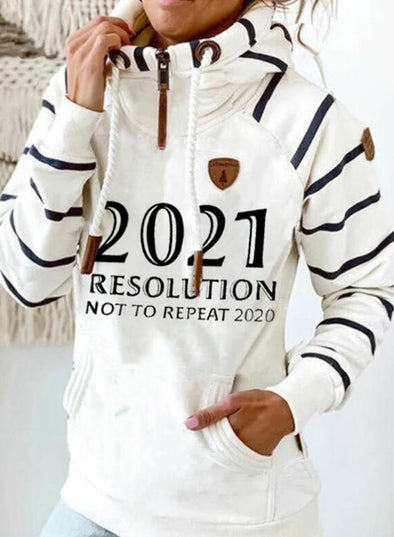White Women's Hoodies Drawstring Turtleneck Long Sleeve Zip Striped Hoodies With Pockets LC2535786-1