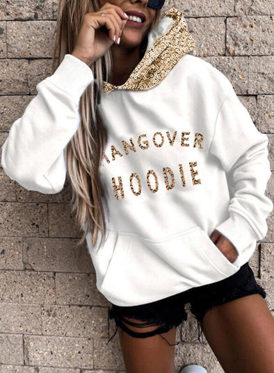 White Women's Hoodies Long Sleeve Sequin Solid Hoodies With Pockets LC2535787-1