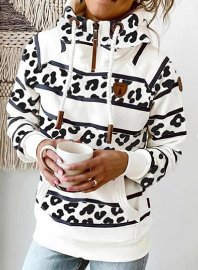 White Women's Hoodies Drawstring Turtleneck Long Sleeve Zip Striped Leopard Hoodies With Pockets LC2535793-1