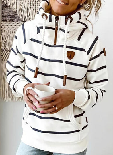 White Women's Hoodies Drawstring Turtleneck Long Sleeve Zip Striped Hoodies With Pockets LC2535795-1