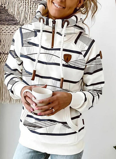 White Women's Hoodies Drawstring Turtleneck Long Sleeve Zip Striped Hoodies With Pockets LC2535796-1