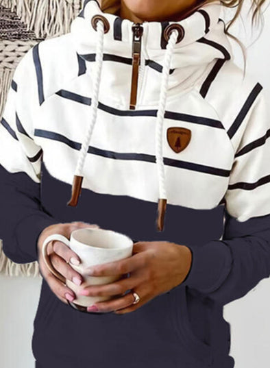 Stripe Women's Hoodies Drawstring Turtleneck Long Sleeve Zip Striped Hoodies With Pockets LC2535799-19