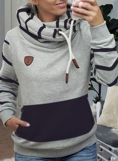 Gray Women's Hoodies Drawstring Turtleneck Long Sleeve Striped Hoodies With Pockets LC2535811-11