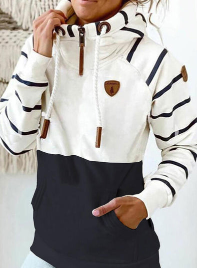 White Women's Hoodies Drawstring Turtleneck Long Sleeve Zip Striped Hoodies With Pockets LC2535818-1