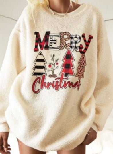 White Women's Sweatshirts Christmas Tree Letter Print Plaid Leopard Color-block Long Sleeve Round Neck Sweatshirt LC2535820-1