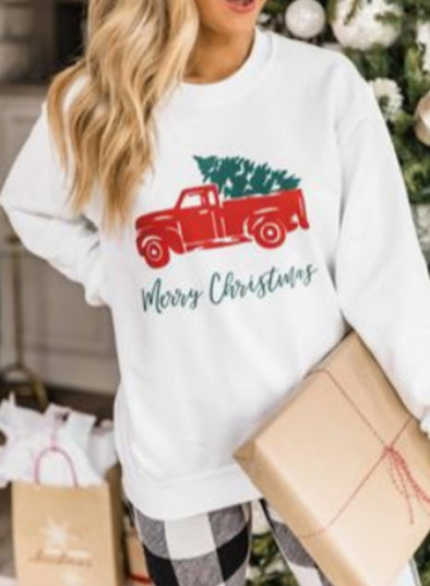 White Women's Sweatshirts Christmas Solid Fruits&Plants Letter Print Long Sleeve Round Neck Sweatshirt LC2535861-1