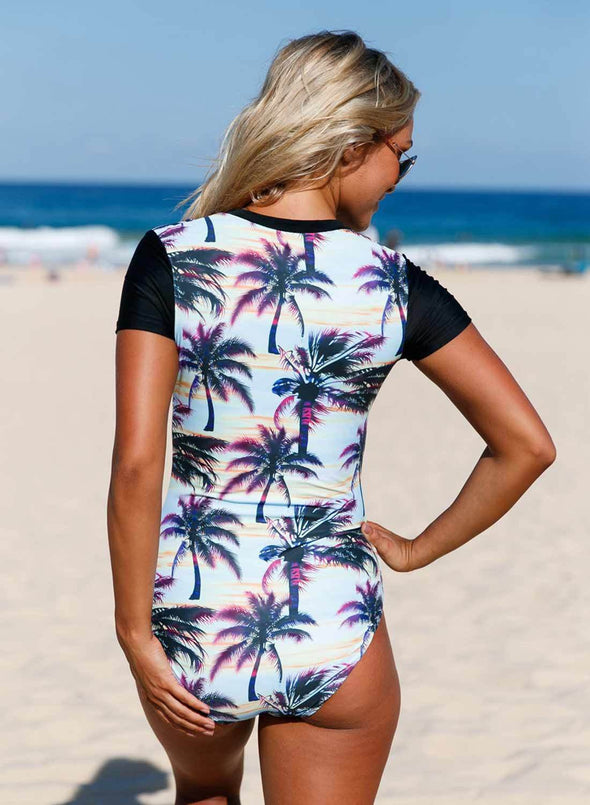 Zip Front Half Sleeve One Piece Swimsuit