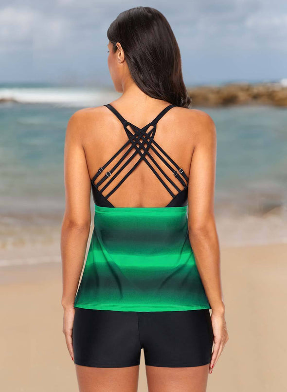 Open Back Color Block Striped Tankini Set