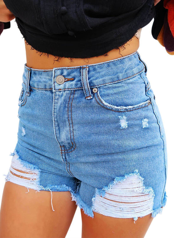 Washed High Waisted Distressed Denim Shorts (LC786123-4-1)