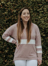 V Neck Chunky Striped Sweatshirt(LC251445-10-1)