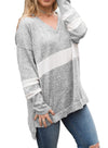 V Neck Chunky Striped Sweatshirt
