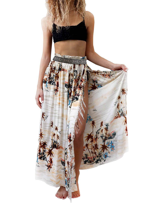 Tassels Boho Cover Up Maxi Skirt (LC420098-1-1)