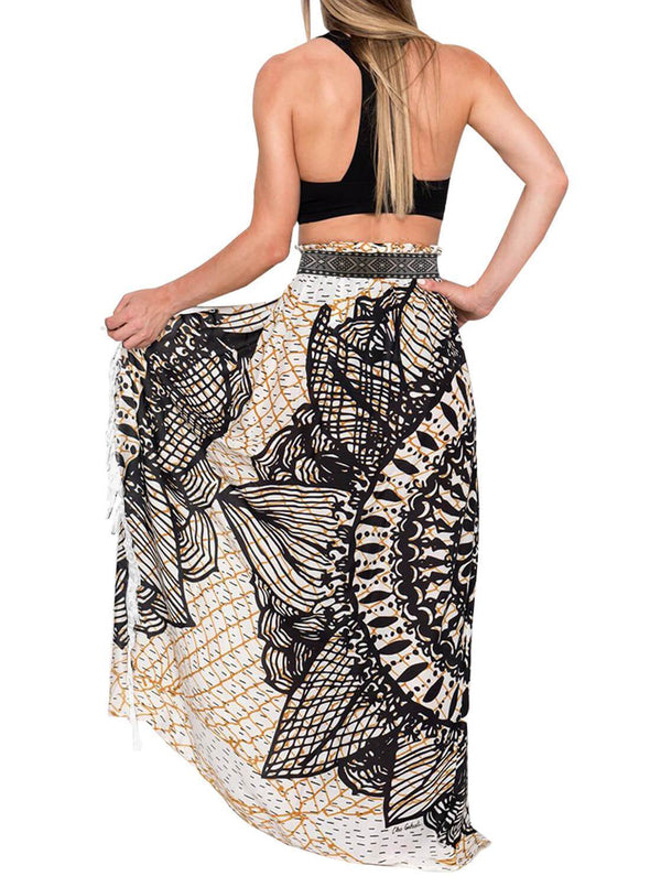 Tassels Boho Cover Up Maxi Skirt (LC420098-2-2)