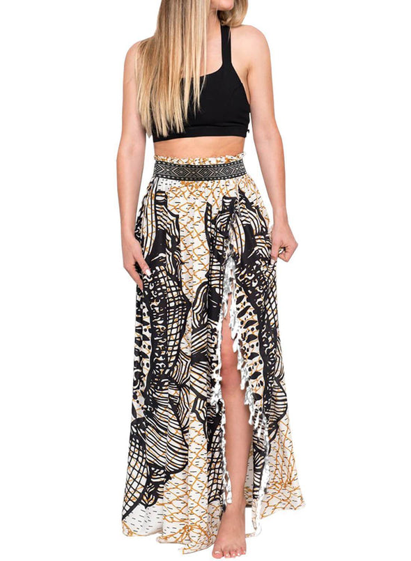 Tassels Boho Cover Up Maxi Skirt (LC420098-2-1)