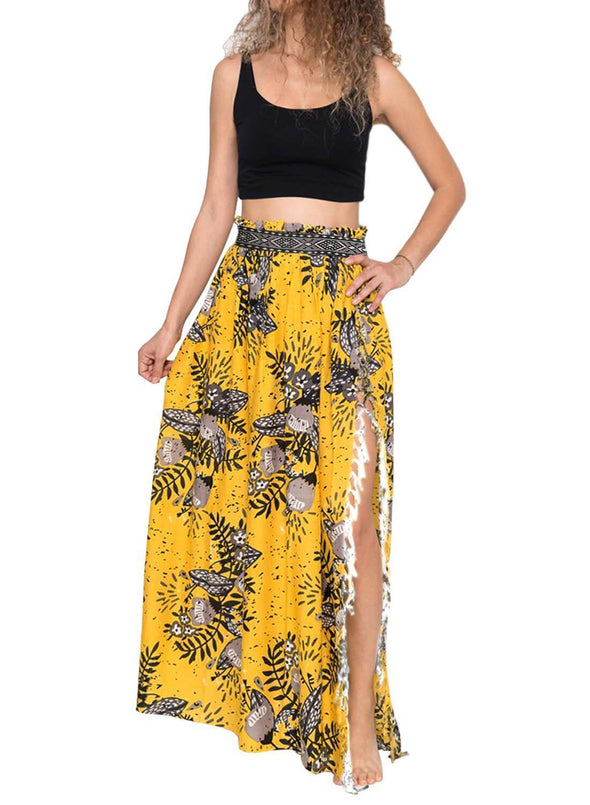 Tassels Boho Cover Up Maxi Skirt (LC420098-7-1)