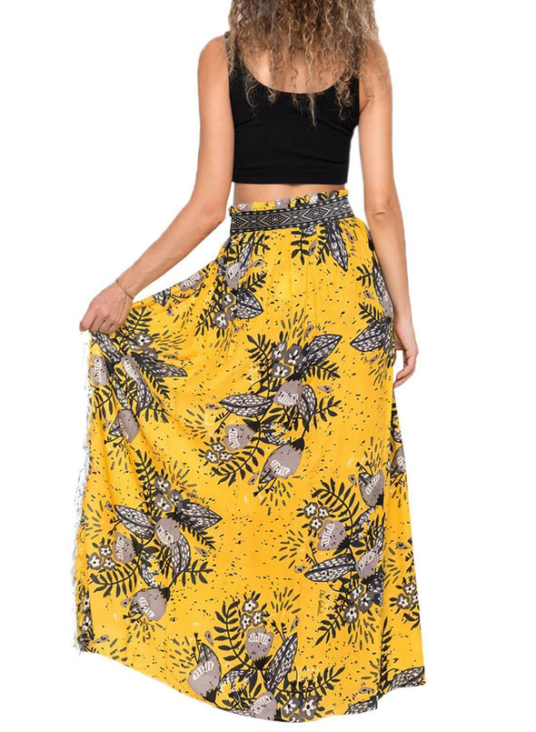 Tassels Boho Cover Up Maxi Skirt (LC420098-7-2)