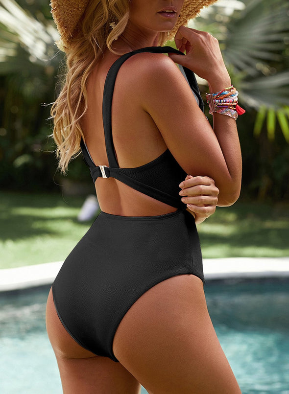 Solid Cut out One-piece Swimsuit