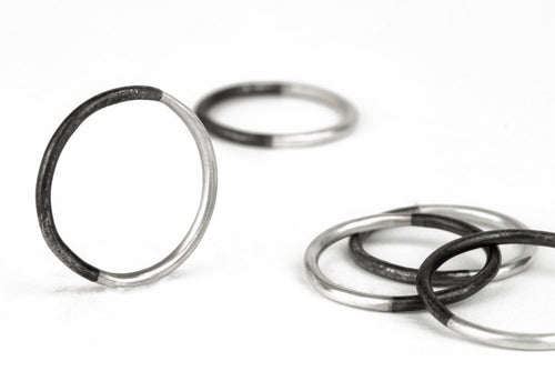 50/50 Stacker Ring Silver and Black Steel