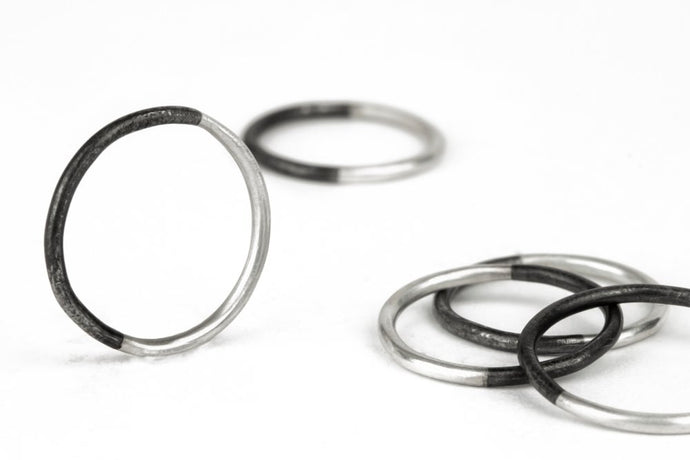 50/50 Stacker Ring in Silver and Black Steel