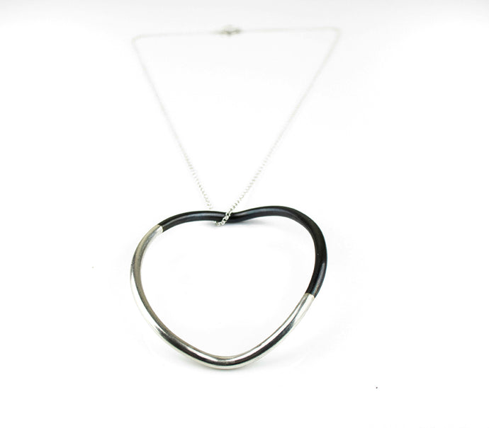 Split Circle Silver Necklace