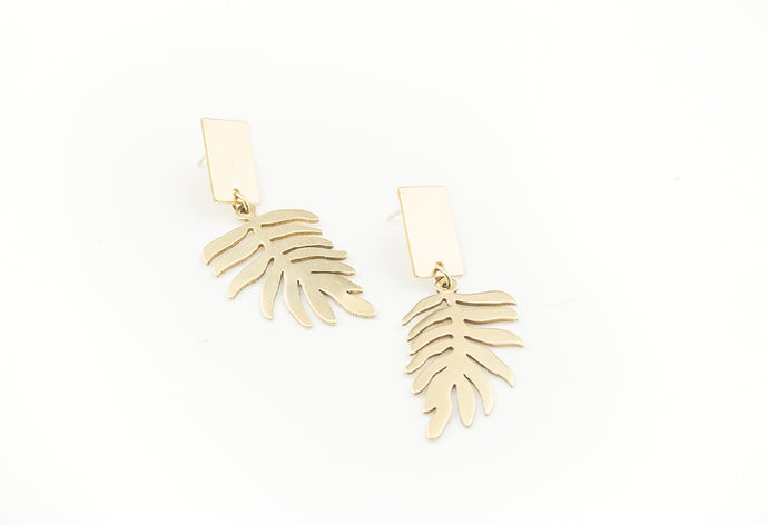 Block Fern Dangle Earrings