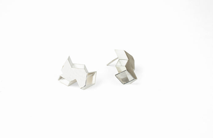 Double Origami Earrings Silver