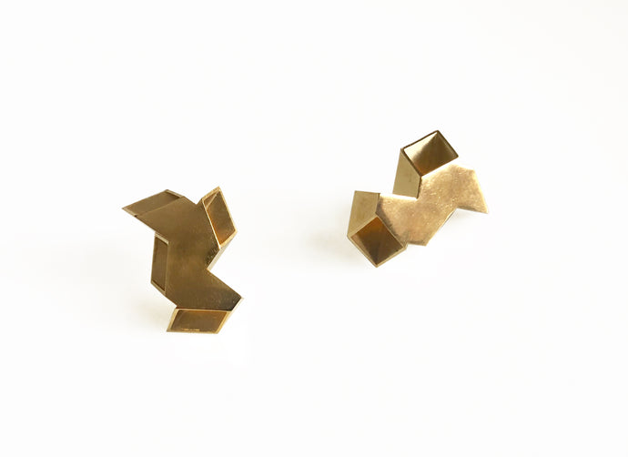 Double Origami Earrings Gold