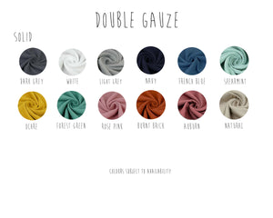 the selection of colours to choose from for your handmade clothing in muslin double gauze fabric