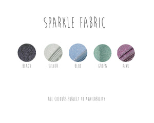 the selection of colours to choose from for your handmade clothing in sparkle glitter jersey fabric
