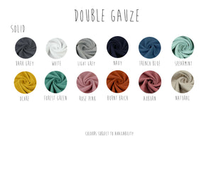 the selection of colours to choose from for your handmade romper in muslin double gauze fabric