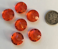Rare Vintage 14mm Orange Hyacinth Double Faceted Glass Jewels - Set of Six (6)