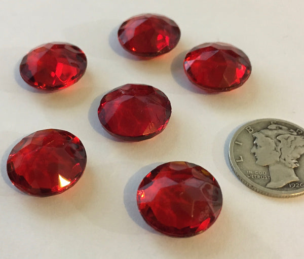 Rare Vintage 14mm Cherry Red Double Faceted Glass Jewels - Set of Six (6)