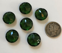 Vintage 14mm Tourmaline Green Double Faceted Glass Jewels - Set of Six (6) for Stained Glass