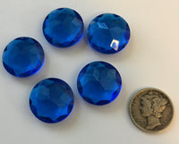 Vintage 14mm Capri Blue Double Faceted Glass Jewels - Set of Six (6)